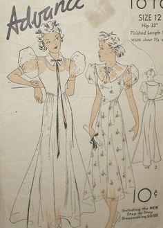 Vintage 1930s Advance 1616 Puff Sleeve Frock Dress Pattern 30B sz 12