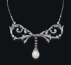Belle Epoque natural pearl and diamond necklace ca 1905