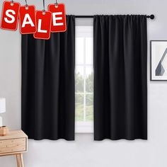 PONY DANCE Bedroom Blackout Curtains - Light Block Solid Soft Rod Pocket Energy Efficient Thermal Insulated Blackout Curtain Panels/Window Drapes for Home Decor, 42 by 45 in, Black, 2 Pieces Grey Blackout Curtains, Drapes And Blinds, Black Curtains, Window Drapes, Colorful Curtains, Hanging Curtains, Drapes Curtains, Bedroom Curtains, Kitchen Curtains