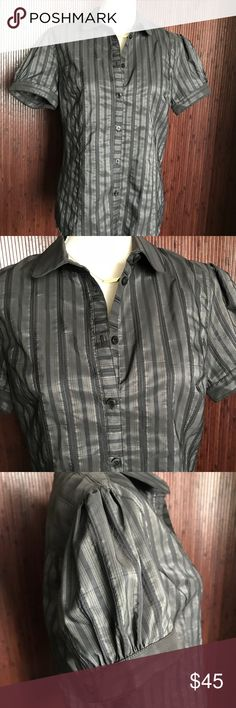Ben Sherman Short Sleeve Button Down Shirt Ben Sherman Short Sleeve Button Down Shirt Shirred short sleeve with button detail Gray with multi stripes Semi-fitted Excellent condition Tops Button Down Shirts