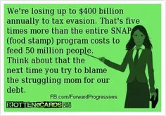 Plus the corporate tax breaks that amount to welfare for the wealthy