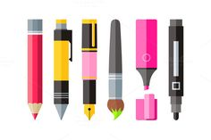 Painting Tools Pen Pencil by robuart on @creativemarket