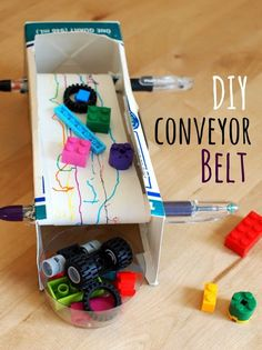 to make a Conveyor Belt how to make a diy conveyor belt with kids!how to make a diy conveyor belt with kids! Engineering Projects, Stem Projects, Science Projects, School Projects, Projects For Kids, Crafts For Kids, Engineering Science, Children Crafts, Craft Kids