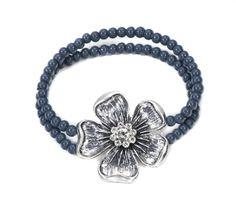 Beaded Antique Silver Flower Bracelet