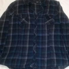 """EUC Ana Jr's Flannel Shirt XL EUC Ana Jr's V-Neck Flannel Shirt Size XL I bought this from another Posher & unfortunately it was too small! Darling Shirt! Measurements: Pit To Pit 23""""  Length From Shoulder To Bottom 27"""" Sleeve Length 23""""  Also Listed On M_e_r_c_a_r_i Tops"""