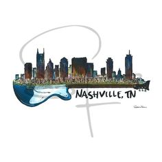 Watercolor Print Nashville Skyline by byStephanieFalcone on Etsy Nashville Downtown, Nashville Skyline, Nashville Music, Nashville Tennessee, Watercolor Print, Watercolor Illustration, Tennessee Tattoo, Nashville Tattoo, Indianapolis Skyline
