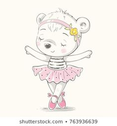 Find Cute Dancing Bear Ballerina Cartoon Hand stock images in HD and millions of other royalty-free stock photos, illustrations and vectors in the Shutterstock collection. Baby Shower Invitation Cards, Baby Shower Cards, Ballerina Cartoon, Ballerina Dancing, Baby Ballerina, Illustrator, Shirt Print Design, Art Mural, Cute Bears