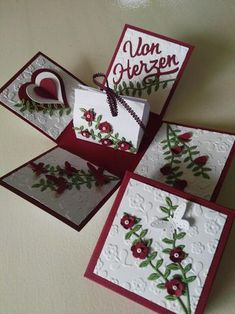 Diy And Crafts, Arts And Crafts, Paper Crafts, Exploding Gift Box, 3d Craft, Heart Cards, Card Maker, Valentine Heart, Stamping Up