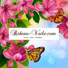 Les couleurs tissus d'été pour rideaux sur mesure haut gamme à motifs fleurs, feuilles et papillons pour décoration d'intérieure (de Rideau-voile)