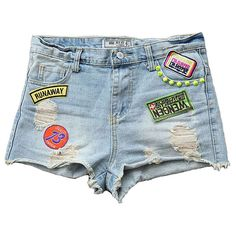 Ripped Denim Shorts with Spiked Stud and Badges Embellishment ($42) ❤ liked on Polyvore featuring shorts, bottoms, pants, punk shorts, jean shorts, spiked shorts, distressed denim shorts et destroyed shorts