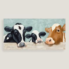 Lend warmth and whimsy to the kitchen or dining room with our charming canvas wall art, a trio of expressive cows rendered in neutral hues. Cow Painting, Oil Painting On Canvas, Cow Canvas, Canvas Art, Cow Pictures, Cow Decor, Farm Art, Cow Art, Abstract Animals