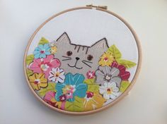 Cat Embroidery Hoop Art colourful floral by BoxRoomBazaar