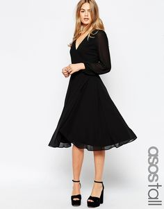 ASOS TALL Midi Dress With 70's Blouson Sleeves and Wrap Front