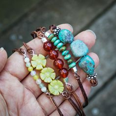 leather wristlets with different beads