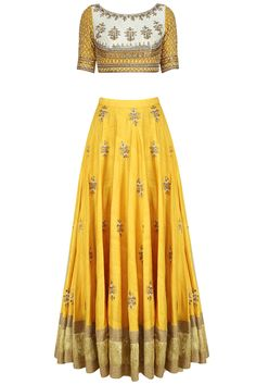 Off white gota patti embroidered blouse and yellow lehenga set available only at Pernia's Pop Up Shop.