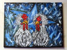 Chicken Wall Art / Original Acrylic Painting on Canvas / Whimsical Rooster Home Decor / Rustic Kitchen Wall Hanging / Handpainted Gift Idea Acrylic Paintings, Acrylic Painting Canvas, Your Paintings, Animal Paintings, Original Paintings, Canvas Paintings, Rooster Painting, Rooster Art, Chicken Painting