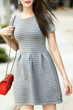 Gray Jewel Neck Short Sleeve Sweater Dress GRAY: Sweater Dresses | ZAFUL