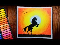 Horse Sunset scenery drawing with Oil Pastels - step by step Oil Pastel Paintings, Oil Pastel Art, Oil Pastel Drawings, Cute Paintings, Oil Pastels, Cute Easy Doodles, Anime Scenery Wallpaper, Step By Step Drawing, Horse Art