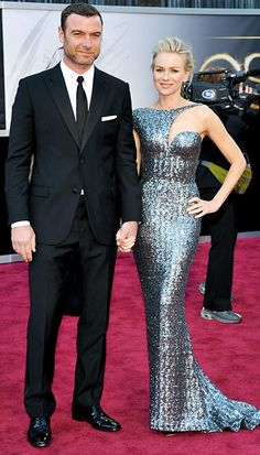 Naomi Watts in a Armani Privé gown with Neil Lane jewelry and Jimmy Choo shoes. Liev Schreiber in a tuxedo.