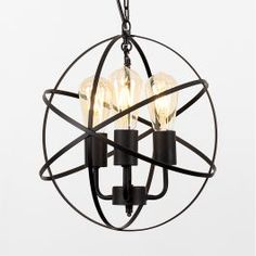 Modern 'Steampunk' inspired atom ceiling pendant in matte black finish  Chain suspension is reminiscent of the fashionable industrial trend  The scientific twist with gentle glow bulbs provide an ambient atmosphere  Perfect for a study or bedroom  We recommend our MiniSun Squirrel cage filament bulbs for £5 each