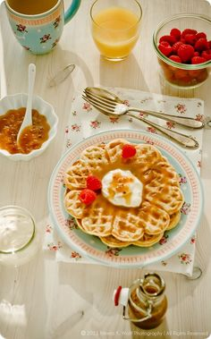 Rommevafler with Brunost and Cloudberry Cream - One will find several recipes for Norwegian Vaffler, my favorite however are the utterly delicious Rømmevafler. Sour cream adds a fantastic distinct tangy flavor to these waffles, making them purely irresistible. ....