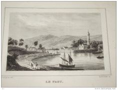 An old forgotten lithograph of Le Faou harbour showing men hauling a lugger, by the antiquarian Bachelot de la Pylaie who gave some good written descriptions of the life in the small harbours of Brest's roadstead., c.1830..