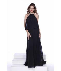 Black Halter Chiffon Long Sheath Gown