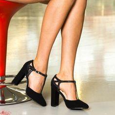 Pantofi cu Toc XKK150A Black Mei Pumps, Heels, Pewter, Black, Fashion, Heel, Tin, Moda, Black People