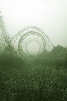 I'm not really sure if this picture is beautiful in a typical sense. I do think that with the blur and the fog with the deep colouring, it really tells a story. It makes me wonder if this roller coaster is abandoned, or if it was like a calm before the storm kind of thing.