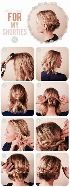 My Gift Ideas World – Collection Of Gift Idea Images That Come To My Mind Bob Frisuren KURZ – Lockere hochsteckfrisuren halblange haare … Braided Updo For Short Hair, Short Hair Bun, Braided Buns, Messy Buns, Short Hair Tricks, Short Hair Tutorials, Bun Tutorials, Trendy Hairstyles, Braided Hairstyles