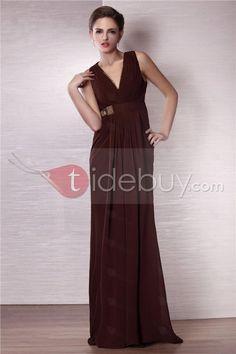 カラム深Vネック床までの長さイブニングドレス