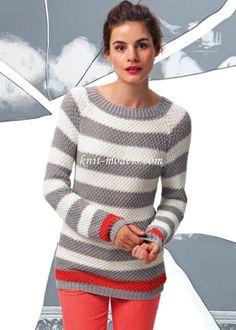 Мобильный LiveInternet Полосатый пуловер реглан. | Snufi - Дневник |