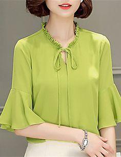 Feminino Blusa Para Noite Casual Trabalho Moda de Rua Primavera,Sólido Floral Azul Rosa Bege Preto Verde Roxo Poliéster Colarinho Chinês -