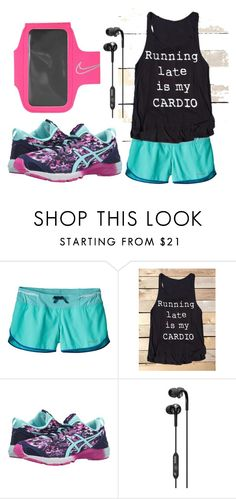 """running late is my cardio"" by deloom on Polyvore featuring Patagonia, Asics, Skullcandy and NIKE"
