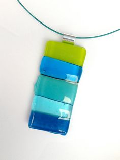 Blue Wide Stripe Fused Glass Rectangular Pendant by elizzyanne, $35.00