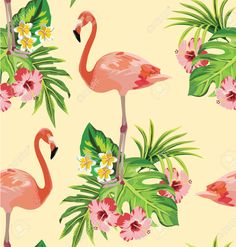 Flamingo, Tropical Flowers And Palm Leaves Seamless Pattern ...