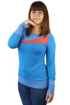 Longsleeves - Longsleeve asymetrisch Jersey blau - ein Designerstück von JAQUEEN-handmade-streetwear-berlin bei DaWanda