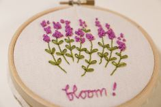 Lavender Hand embroidery Hoop Art by threadsandpaints on Etsy