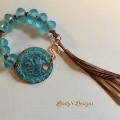 Patina Focal Teal Leather Bracelet