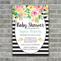 BABY SHOWER FLORAL Baby Shower Invitation Floral by PoppinsInk