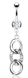 Amazon.com: 316L Surgical Steel Navel Jewelry - 3 Ring in Shimmering Clear Crystal CZ: Jewelry