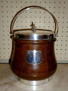 Vintage Oak Biscuit Barrel