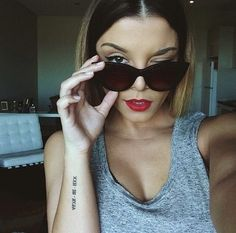 Tattoo, red lips, sexy girl