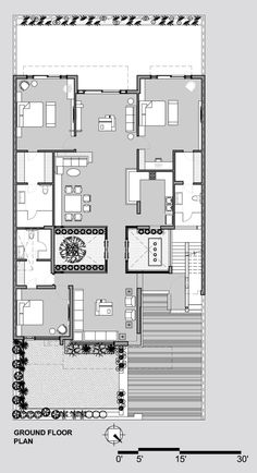 Gallery of Twin Courtyard House / Charged Voids - 18 Bungalow Floor Plans, Duplex House Plans, Dream House Plans, Modern House Plans, Small House Plans, House Floor Plans, Classic House Design, House Front Design, Home Design