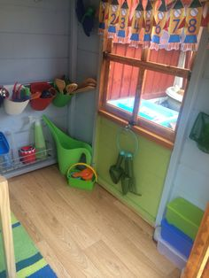 I've transformed a playhouse into a potting shed for my LO with resources for mark making, story, gardening , mud kitchen and sensory play !
