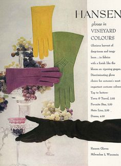 Hansen gloves in a vineyard of colours! #vintage #gloves #ad #fashion