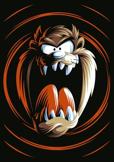 The Tasmanian Devil by Aleksey Rico Dope Cartoon Art, Dope Cartoons, Cartoon Drawings, Classic Cartoon Characters, Classic Cartoons, Looney Toons, Looney Tunes Funny, Looney Tunes Wallpaper, Motorcycle Paint Jobs