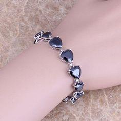 Heart Shaped Black Sapphire 925 Sterling Silver Overlay Link Chain Bracelet 7 inch For Women Free Shipping & Jewelry Bag S0279  #jewellery #weddingbands #weddingjewelry #bridal #earrings