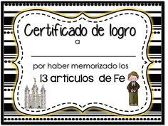 Certificado Artículos de fe  LDS articles of faith certificate