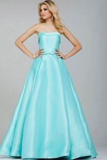Ball Gown Strapless Floor Length Satin Prom Dresses Toronto